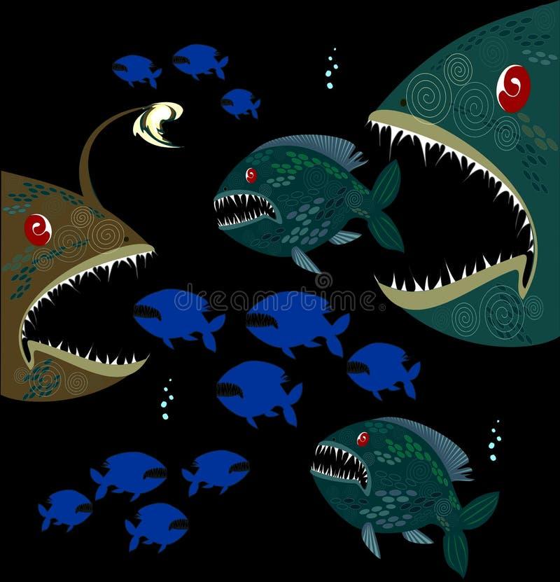 Poissons profonds de monstres illustration de vecteur