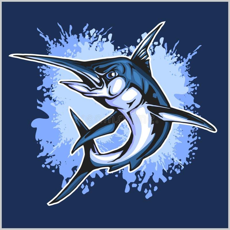 Poissons réalistes de Marlin bleu illustration de vecteur
