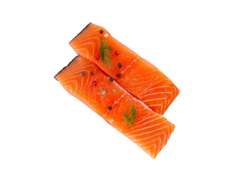 Poissons saumonés frais d'isolement sur le fond blanc sans ombre - image images libres de droits