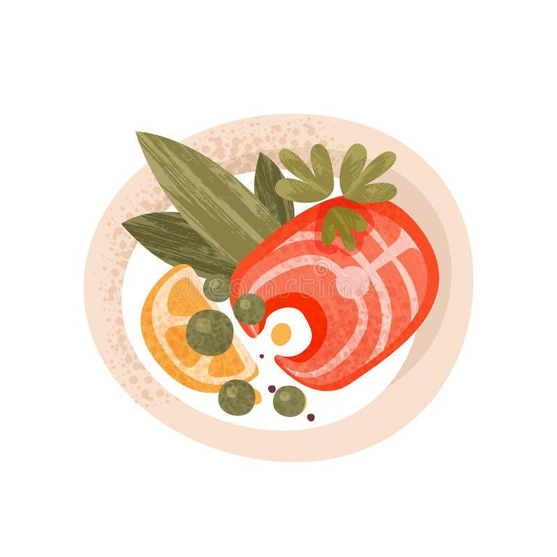 Poissons saumonés, verts et tranche de citron dans le plat, vue supérieure Plat délicieux pour le dîner Icône plate de vecteur av illustration de vecteur