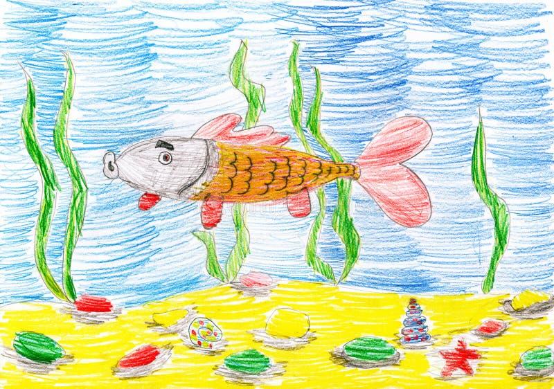 Poissons sous-marins, dessin de croquis d'enfant illustration libre de droits