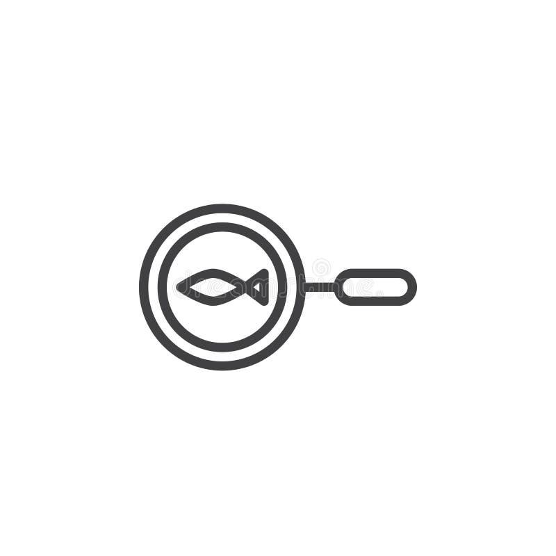 Poissons sur la ligne icône de casserole illustration de vecteur