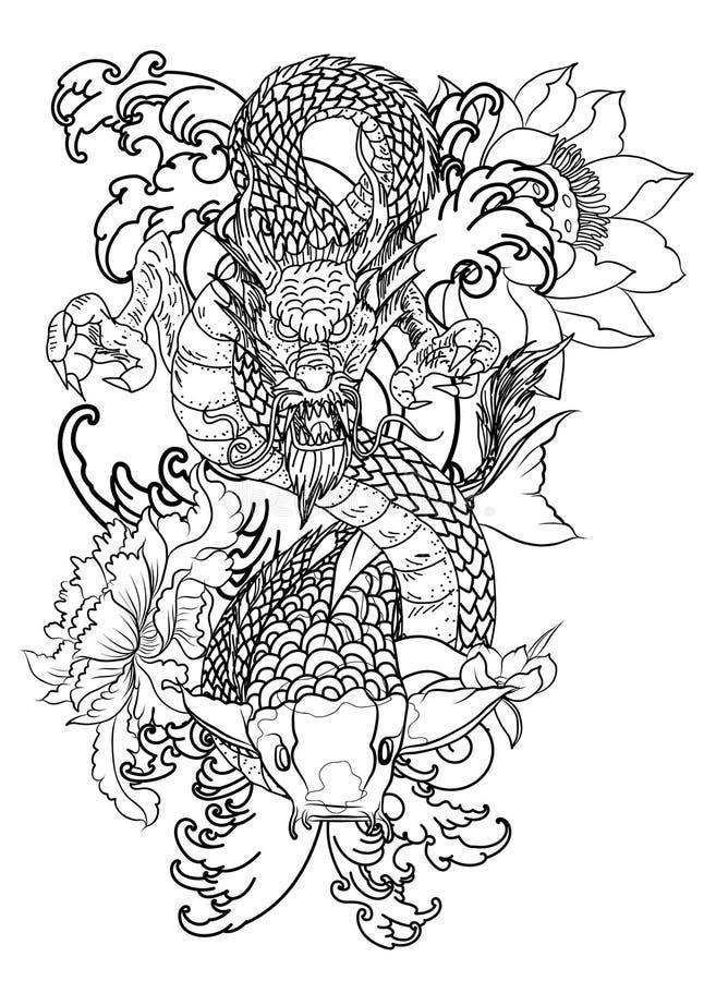 Poissons tirés par la main de dragon et de koi avec le tatouage de fleur pour le bras, japonais image carpe de vecteur de livre d illustration stock