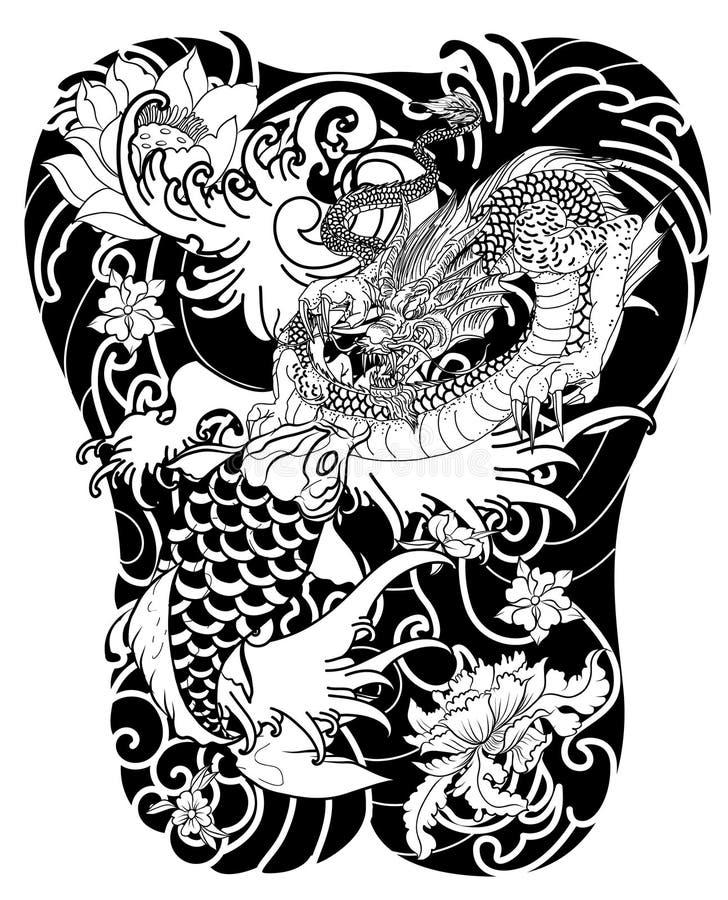 Poissons tir s par la main de dragon et de koi avec le for Koi japonais prix
