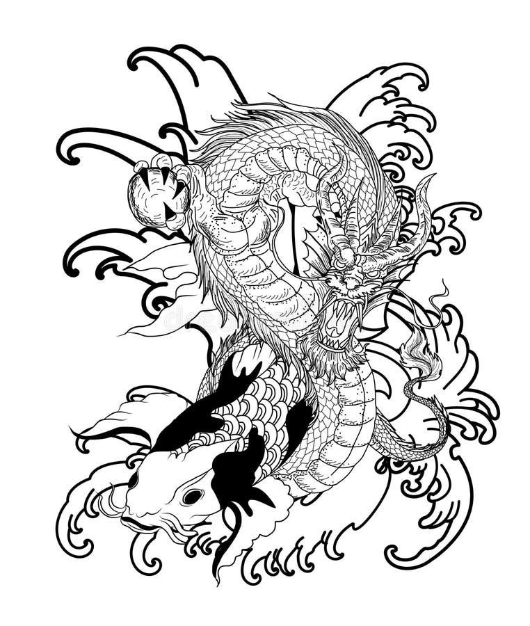 Poissons tir s par la main de dragon et de koi avec le tatouage de fleur pour le bras japonais - Carpe koi dessin ...