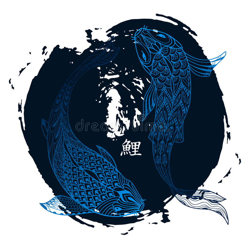 Poissons tir s par la main de koi dessin au trait japonais for Poisson carpe koi prix