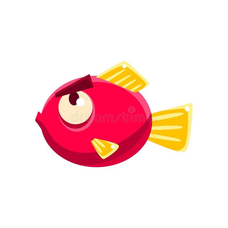Poissons tropicaux d'aquarium fantastique rouge têtu avec le personnage de dessin animé de sourcils illustration stock