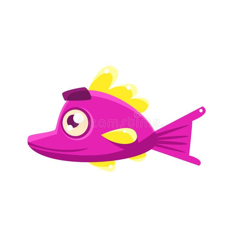 Poissons tropicaux d'aquarium fantastique satisfait rose avec le personnage de dessin animé de sourcils illustration libre de droits