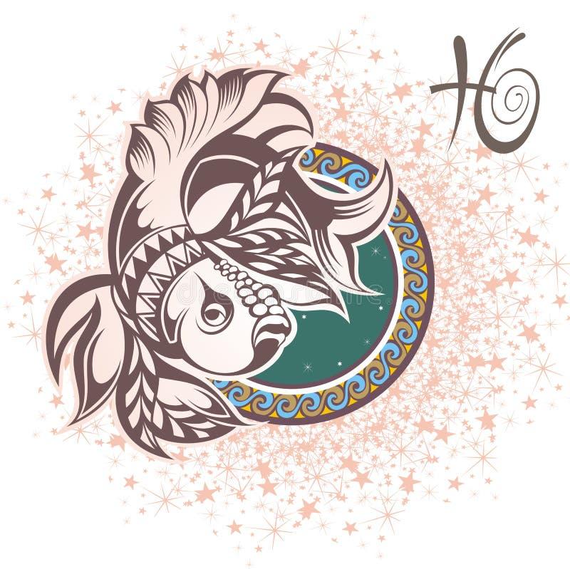 poissons zodiaque des symboles douze de signe de conception de dessin-modèles divers illustration stock