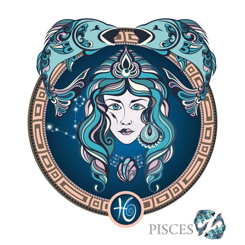 poissons zodiaque des symboles douze de signe de conception de dessin-modèles divers illustration de vecteur