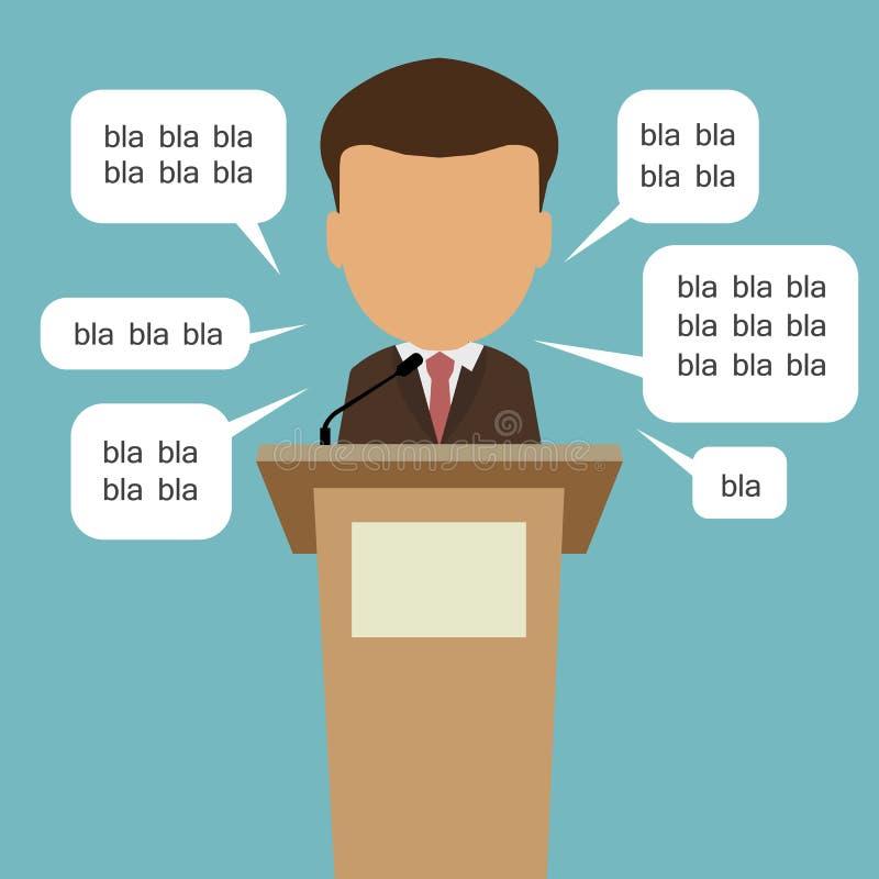 Poitician con las burbujas del discurso stock de ilustración