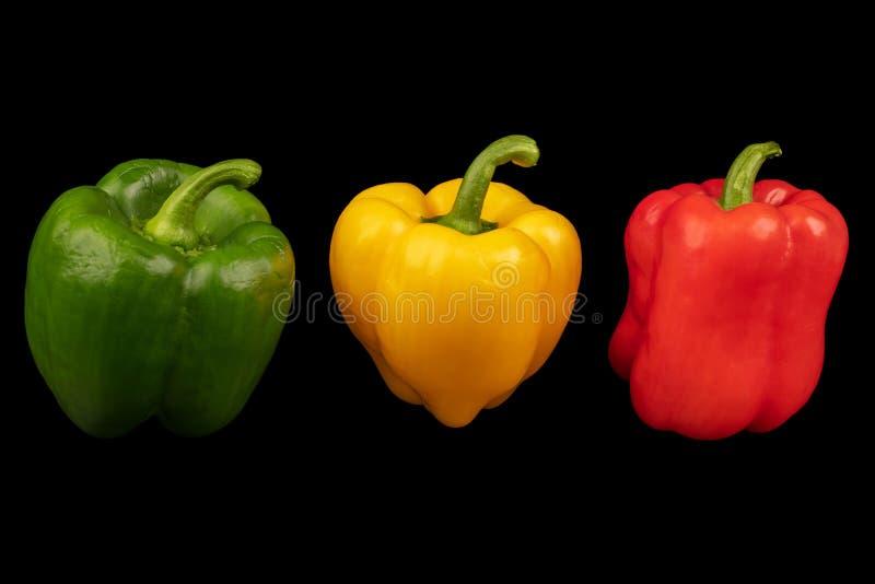 Poivre coloré de paprika d'isolement sur un fond noir image stock