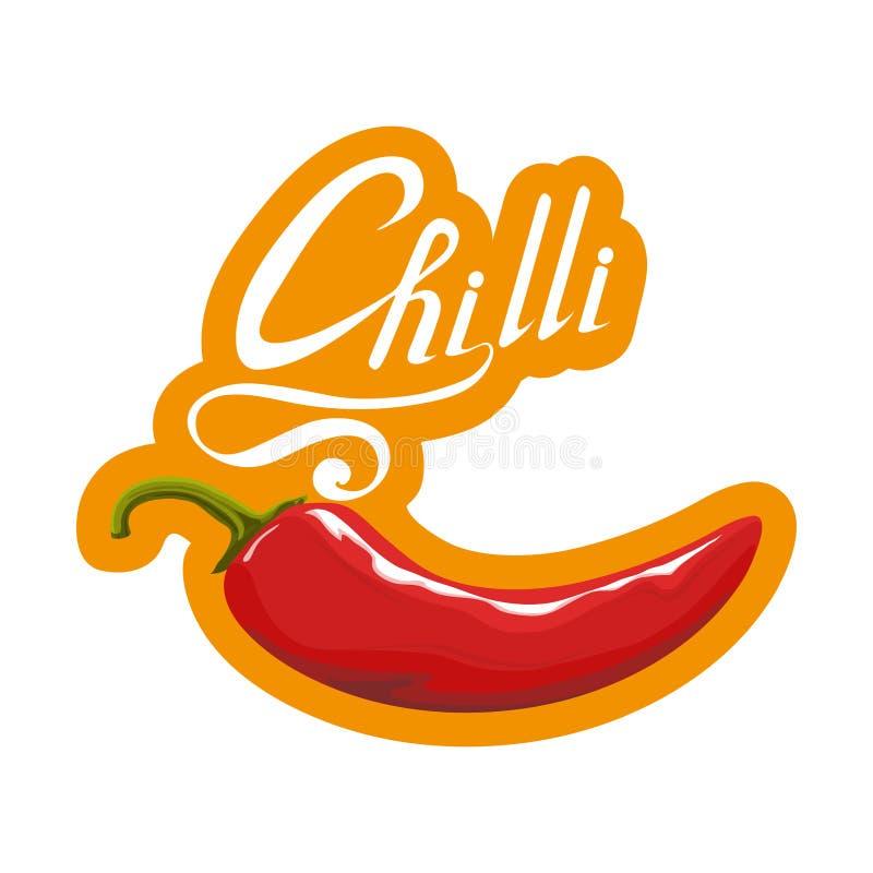 Poivre d'un rouge ardent tiré par la main ingrédient épicé Logo de piment Épice Chili Pepper chaud d'isolement sur le fond blanc  illustration de vecteur