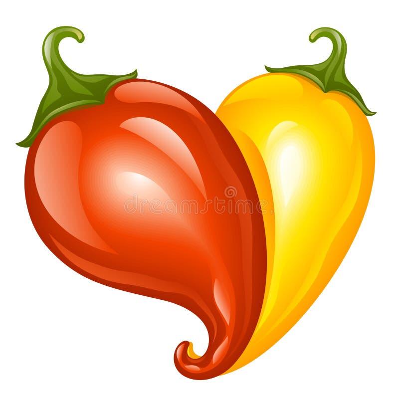 Poivre de deux s/poivron chauds sous forme de coeur illustration de vecteur