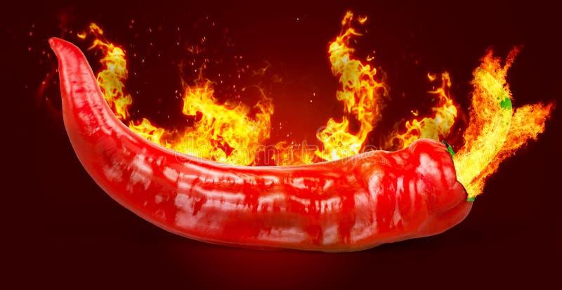 Poivre de piment d'un rouge ardent sur le fond noir avec la flamme illustration de vecteur