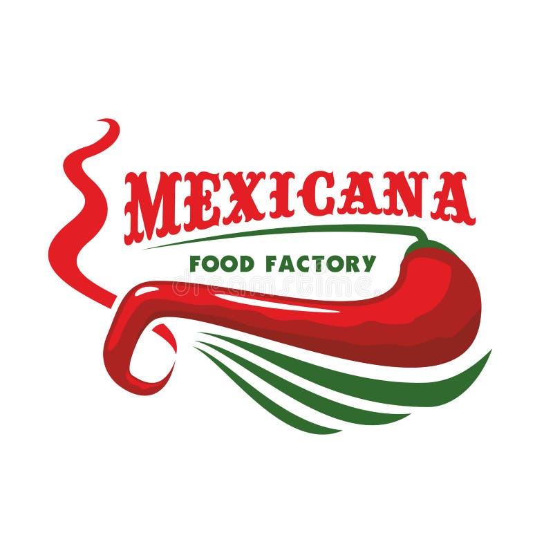 Poivre de piment pour l'icône mexicaine de nourriture de restaurant illustration stock