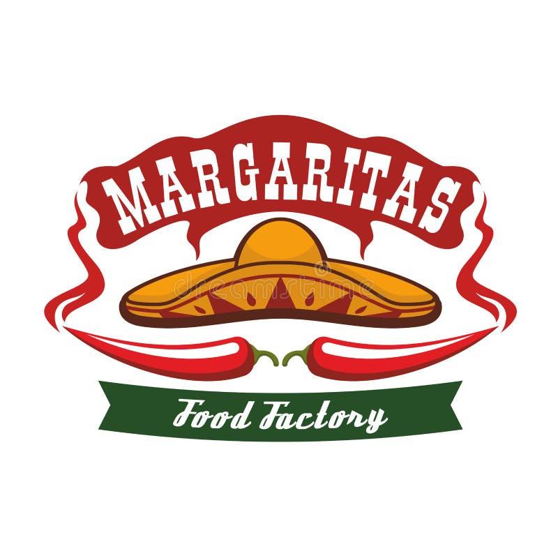 Poivre de piment rouge comme moustache et sombrero mexicain illustration de vecteur