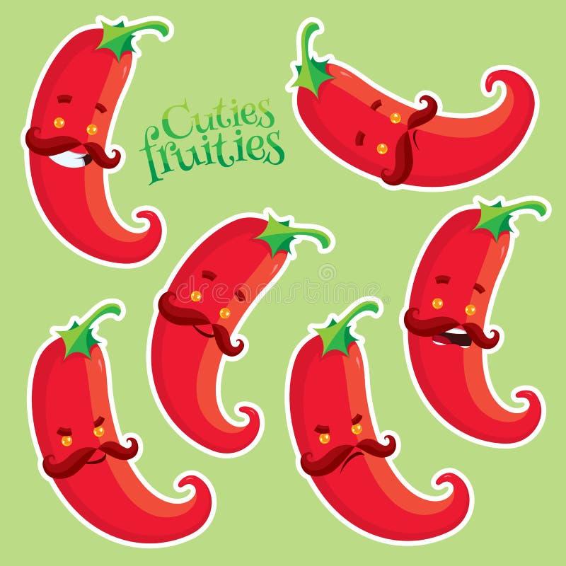 Poivre de piments d'un rouge ardent avec différentes émotions illustration stock