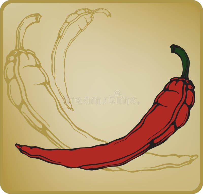 Poivre de piments d'un rouge ardent. Illustration de vecteur. illustration de vecteur