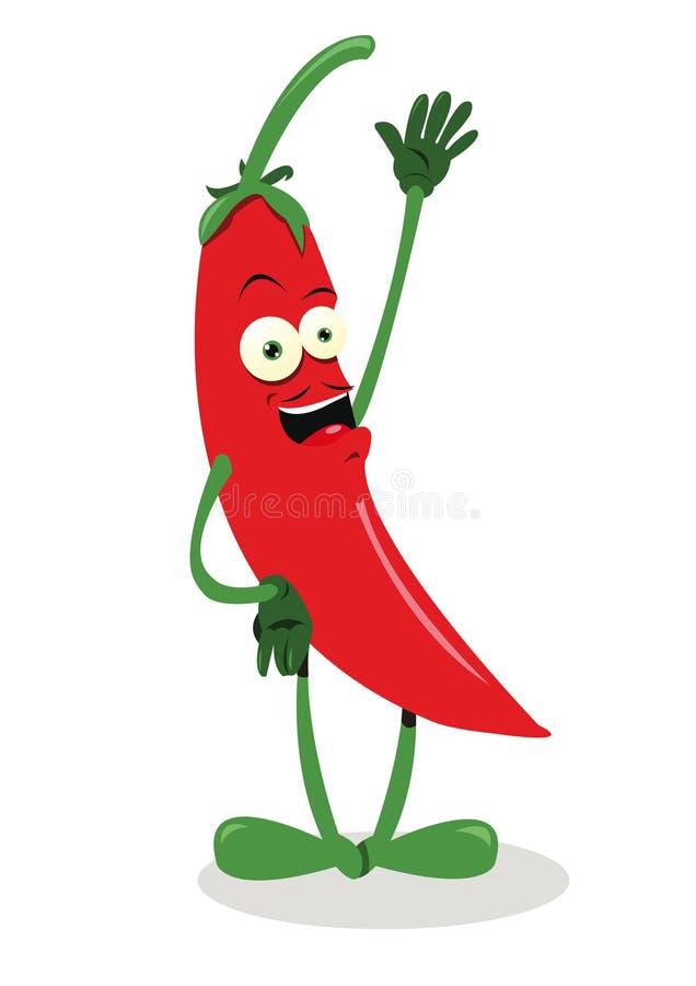 Poivre de /poivron d'un rouge ardent drôle illustration de vecteur