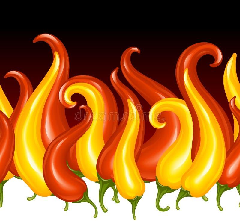 Poivre de s/poivron d'un rouge ardent sous forme d'incendie illustration libre de droits