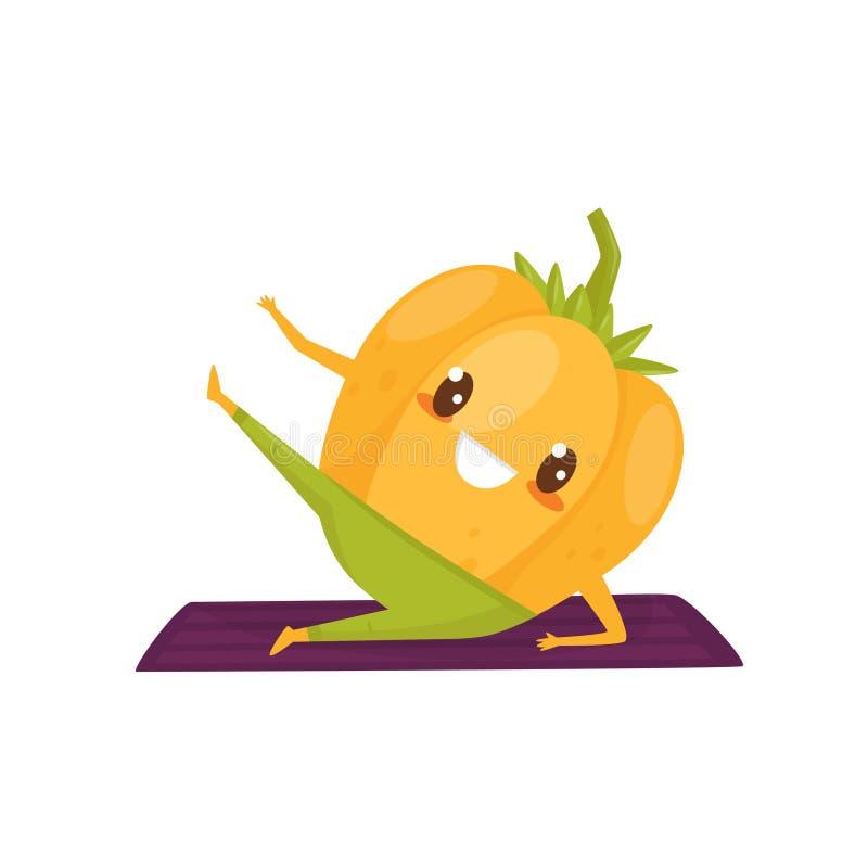 Poivre drôle établissant sur un tapis d'exercice, personnage de dessin animé végétal folâtre faisant le vecteur d'exercice de for illustration de vecteur