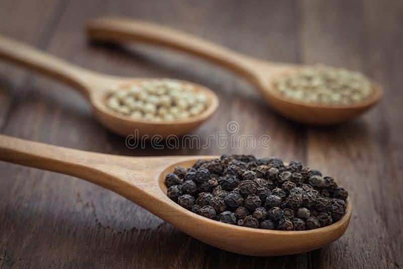 Poivre noir et poivre blanc sur la cuillère en bois photos stock