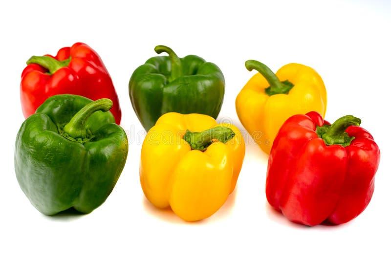 Poivre rouge, jaune, vert de paprika sur un fond blanc photos libres de droits