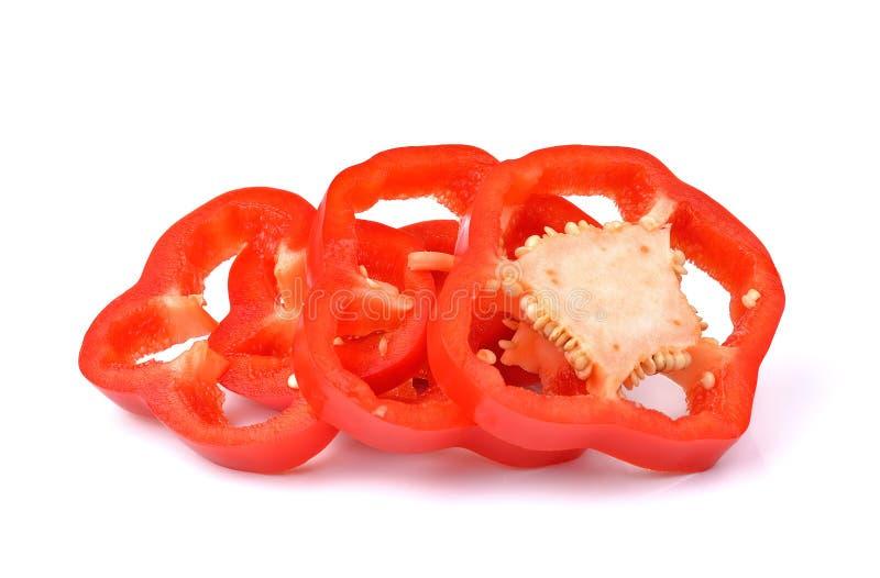 Poivron rouge doux d'isolement sur le fond blanc image stock