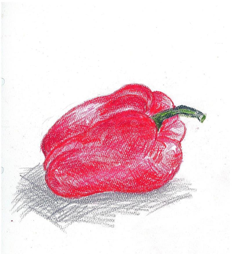 Poivron rouge sur un fond blanc, belle illustration nourriture végétarienne de fruit illustration de vecteur
