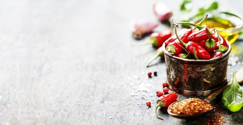 Poivrons de piment avec des herbes et des épices images stock