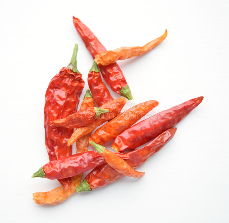 Poivrons de piment rouges secs de Cayenne photo stock