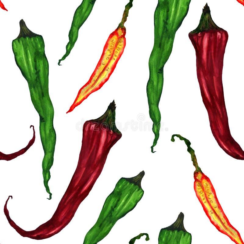 Poivrons de /poivron verts et d'un rouge ardent illustration de vecteur