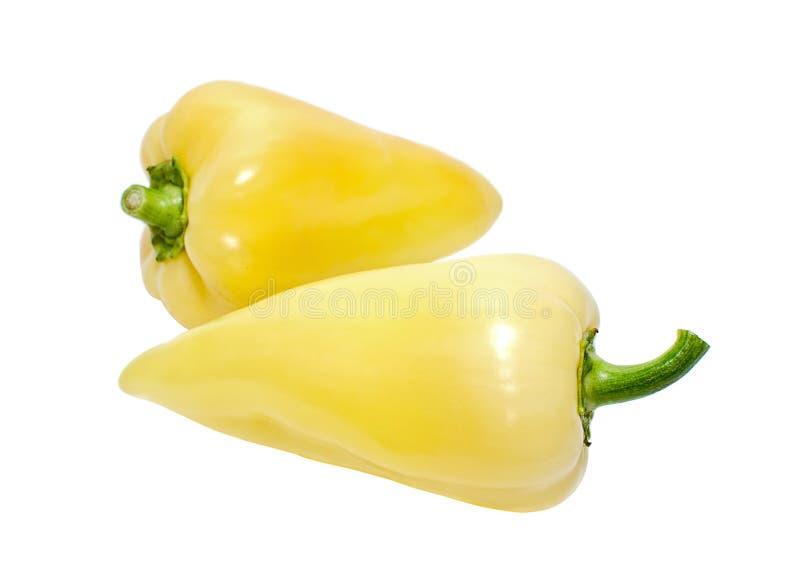 Poivrons doux jaunes sur le blanc photo stock