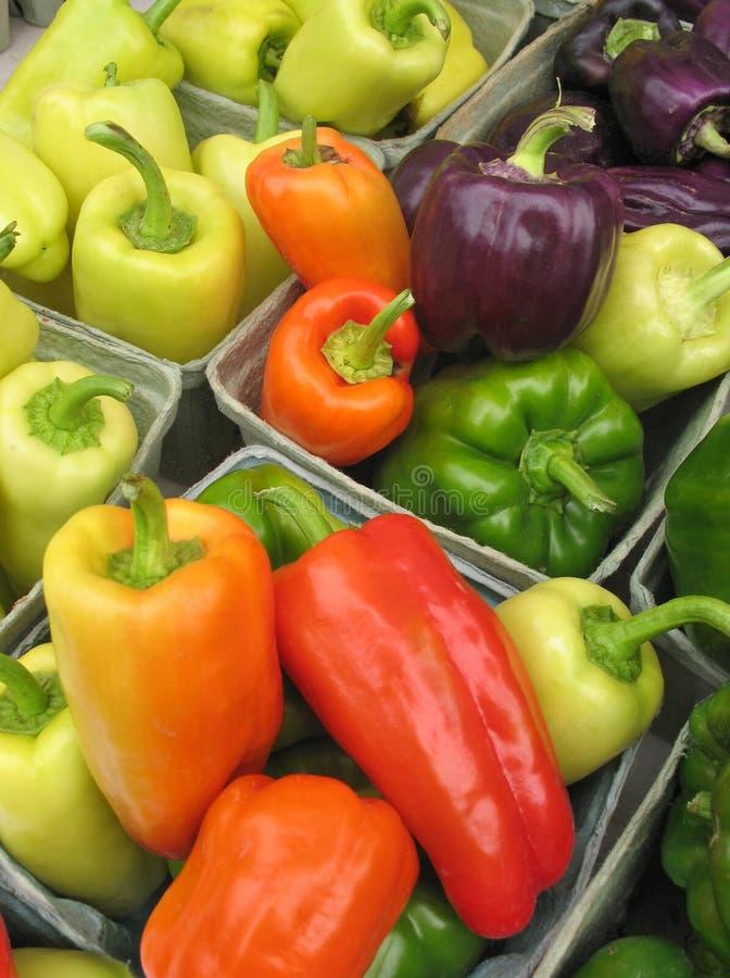 Poivrons multicolores au marché des fermiers images stock