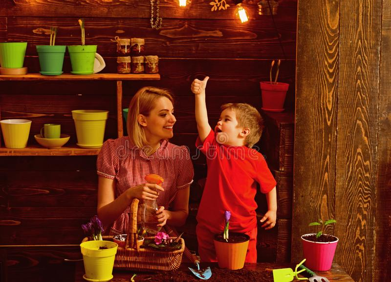 pojęcia ogrodnictwo Małego dziecka przedstawienia aprobat ręka matkować flancowanie kwiatu w garnku, ogrodnictwo na ogród organic zdjęcie stock