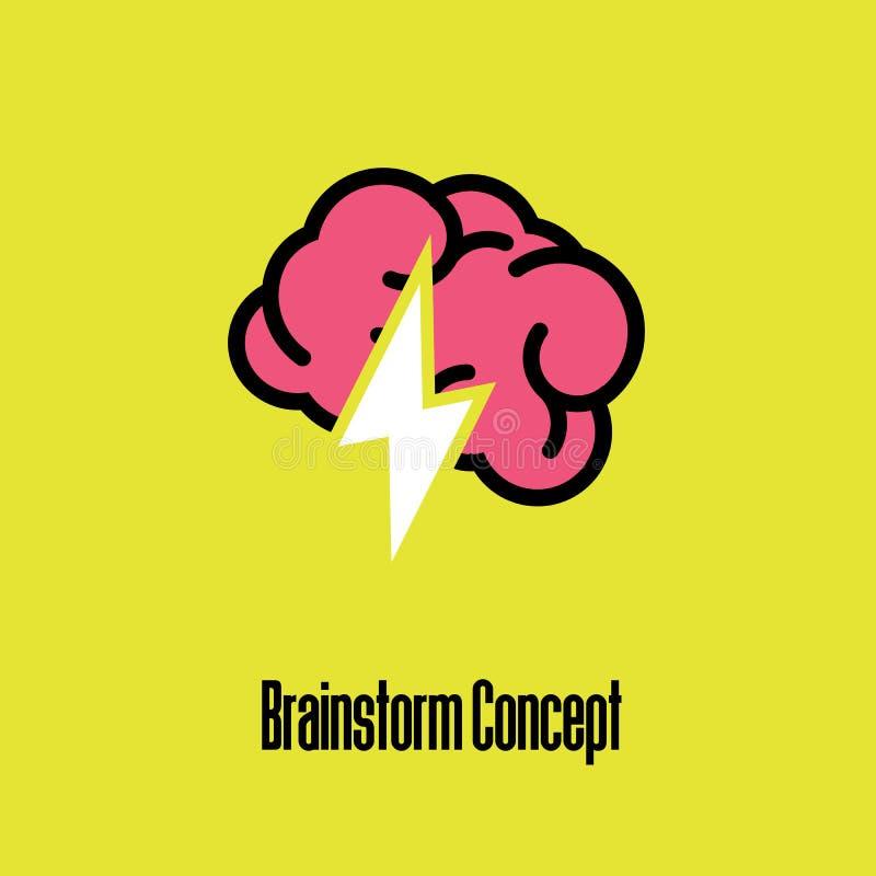 Pojęcie brainstorming lub móżdżkowa aktywność Płaska wektorowa ikony ilustracja royalty ilustracja