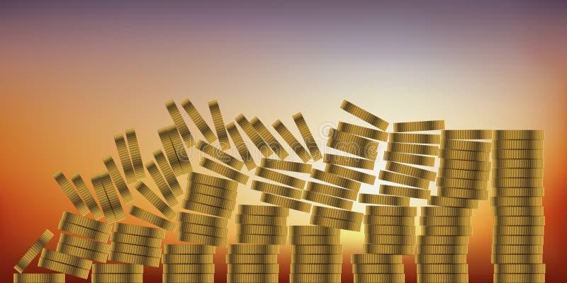 Pojęcie domino skutek symbolizować pieniężnego zawalenie się i bankructwo model ekonomiczny ilustracji