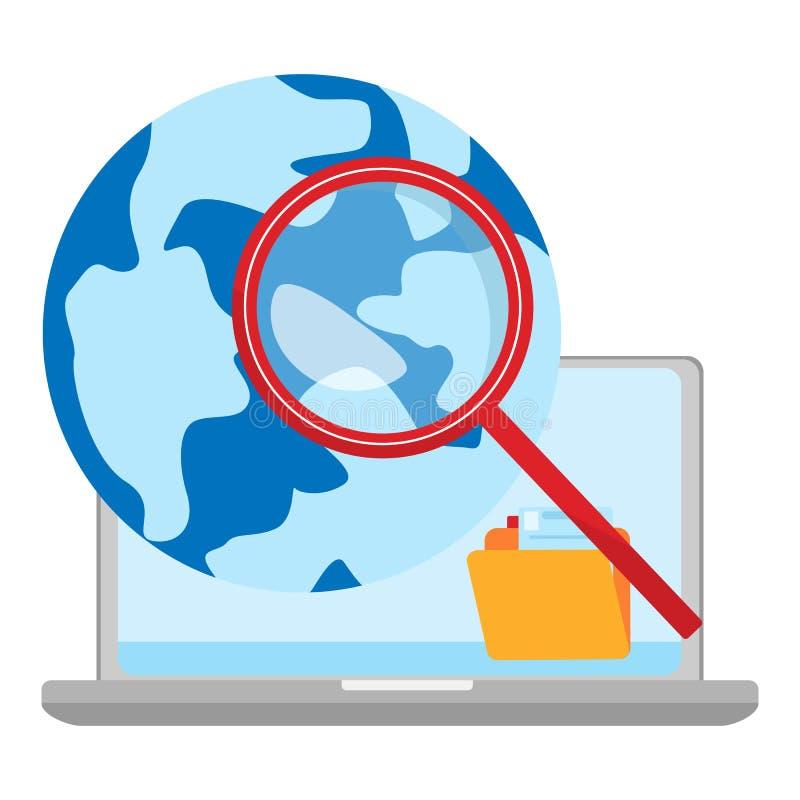 Pojęcie globalnej rewizji odosobniona ilustracja Sieć symbol ilustracji