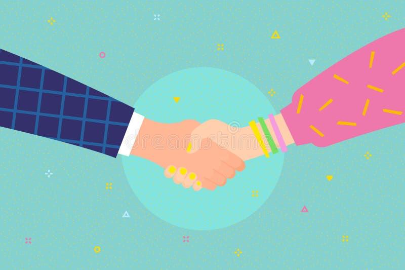 Pojęcie sukces transakcja, szczęśliwy partnerstwo, wita potrząśnięcie, przypadkowa handshaking zgoda uścisnąć ręki royalty ilustracja