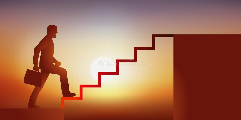 Pojęcie sukces, z mężczyzną symbolicznie wspina się schodki brać przywódctwo jego firma, royalty ilustracja