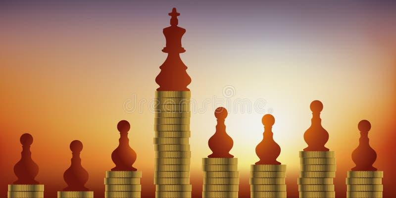 Pojęcie szachowe gry, porównujący pomyślność królewiątko i władzę pod względem pionków ilustracji