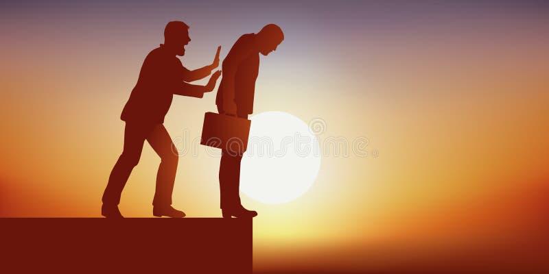 Pojęcie walka dla władzy z mężczyzną który eliminuje jego przeciwnika robić on w otchłań spadać ilustracja wektor