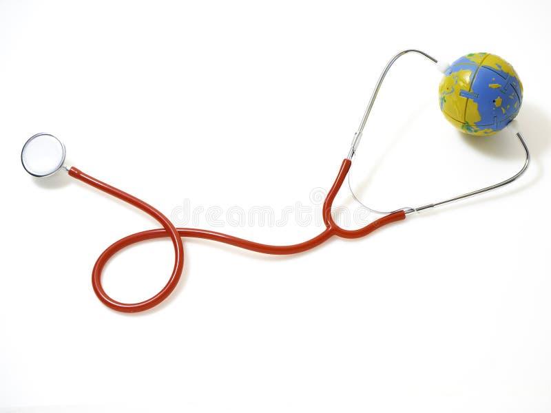 Pojęć światowych zdrowie dzień, Czerwony stetoskop obrazy royalty free