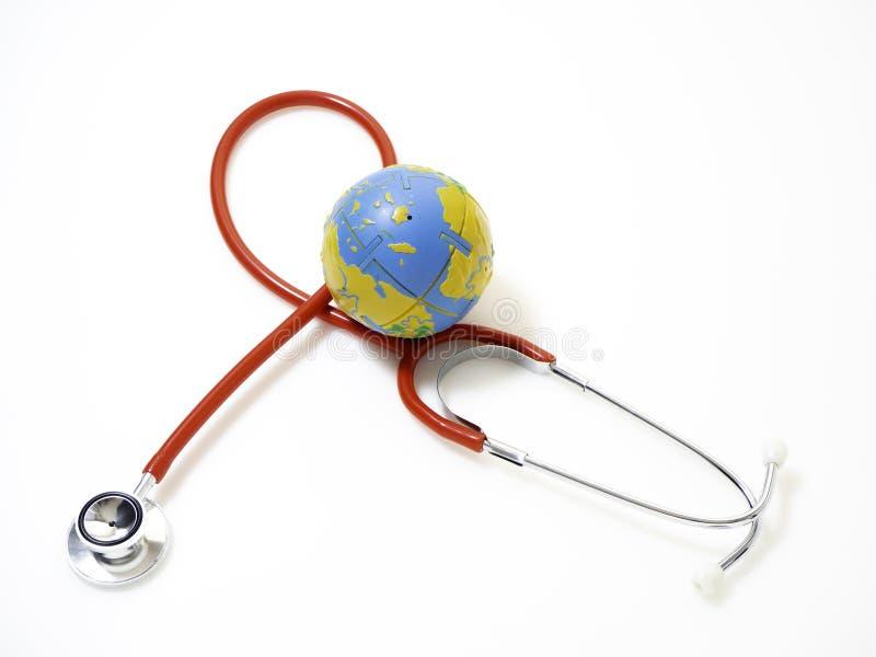 Pojęć światowych zdrowie dzień, Czerwony stetoskop zdjęcia stock
