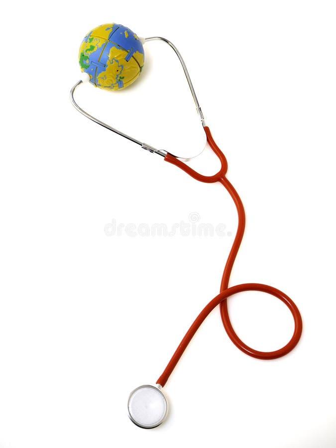 Pojęć światowych zdrowie dzień, Czerwony stetoskop zdjęcie royalty free