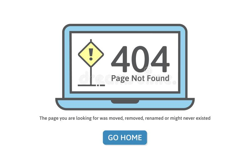 404 pojęć błędu linii ikona Strona znajdujący błąd na błękitnym laptopie Modna kreskowego stylu wektoru ilustracja Strona jest gu ilustracji