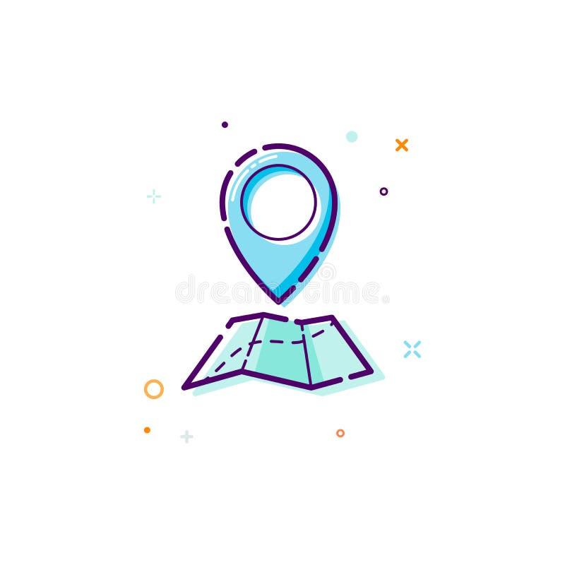 Pojęć gps ikona Cienki kreskowy płaski projekta element mapy i pointeru ikony pojęcie Wektorowa ilustracja odizolowywająca na bia ilustracji