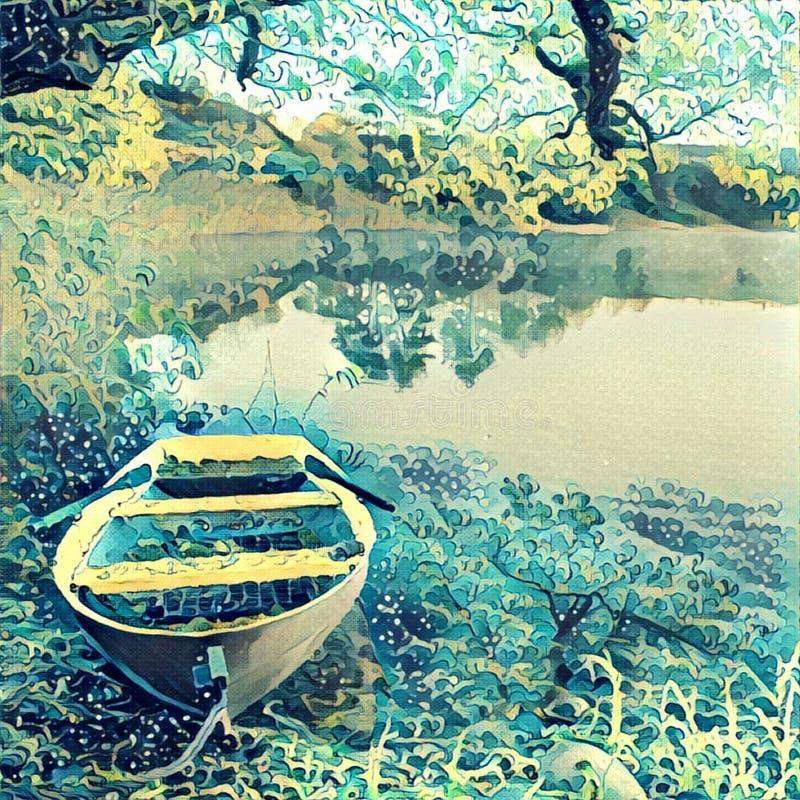 pojęcia łodzią rana lake mglista natury fotografia stock