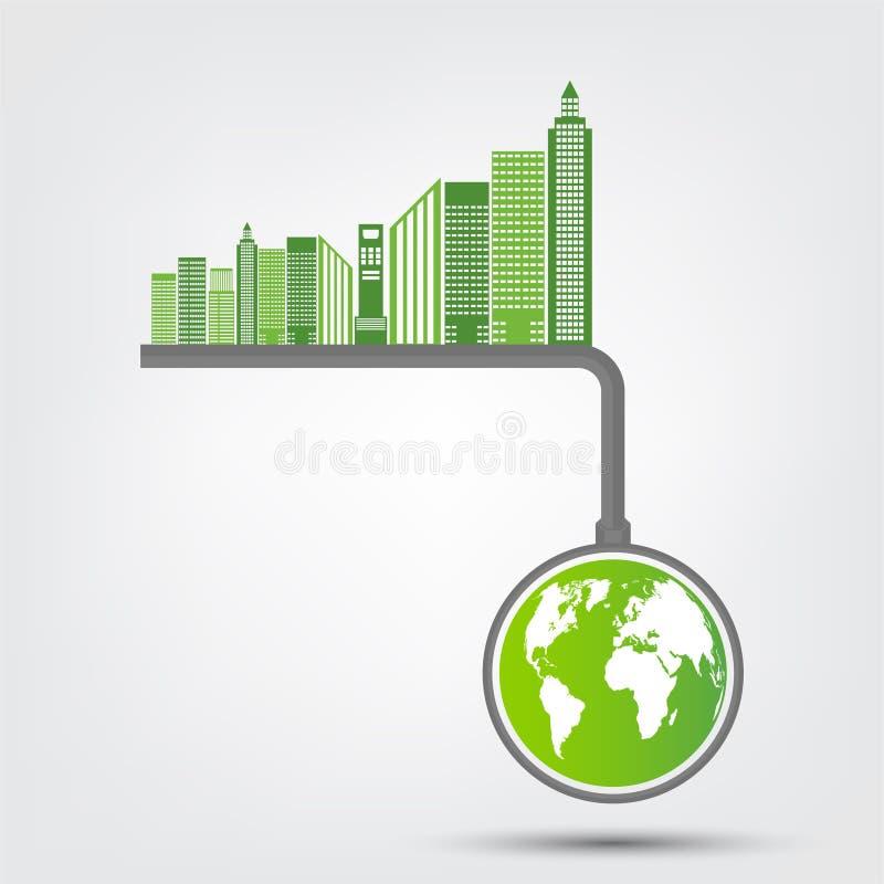 Pojęcia Światowy środowisko i ziemia symbol Z Zielonymi liśćmi Wokoło miast Pomagamy światowi Z życzliwymi pomysłami, wektor royalty ilustracja